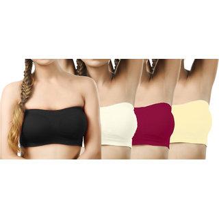 Modern Girl's Black,Cream,Crimson,Cream Sports Bra (Pack of 4)