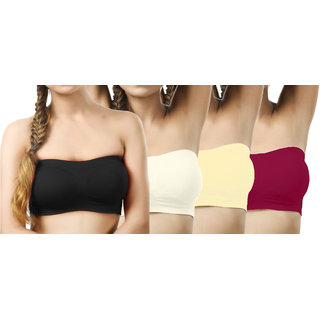 Modern Girl's Black,Cream,Cream,Crimson Tube Bra (Pack of 4)