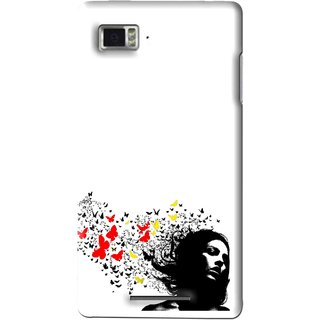 Snooky Printed Butterfly Girl Mobile Back Cover For Lenovo K910 - Multi