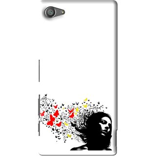 Snooky Printed Butterfly Girl Mobile Back Cover For Sony Xperia Z5 Compact - Multi