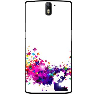 Snooky Printed Flowery Girl Mobile Back Cover For OnePlus One - Multicolour