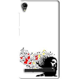 Snooky Printed Butterfly Girl Mobile Back Cover For Intex Aqua Power Plus - Multi