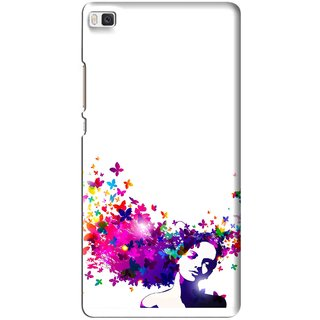 Snooky Printed Flowery Girl Mobile Back Cover For Huawei Ascend P8 - Multi