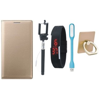 Motorola Moto C Luxury Cover with Ring Stand Holder, Selfie Stick, Digtal Watch and USB LED Light