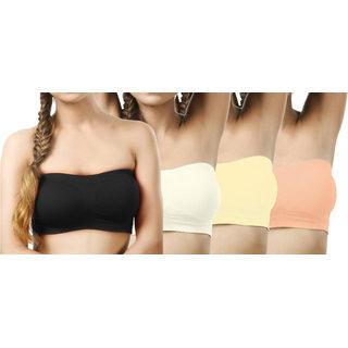 Modern Girl's Black,Cream,Cream,Brown Tube Bra (Pack of 4)
