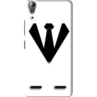 Snooky Printed Tie Collar Mobile Back Cover For Lenovo A6000 Plus - Multi
