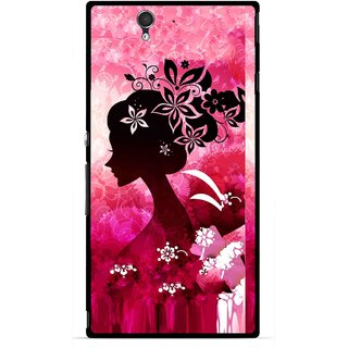 Snooky Printed Pink Lady Mobile Back Cover For Sony Xperia Z - Multicolour