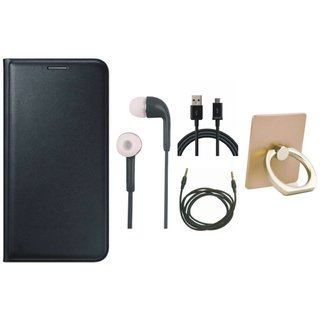 Samsung C7 Pro Leather Cover with Ring Stand Holder, Earphones, USB Cable and AUX Cable
