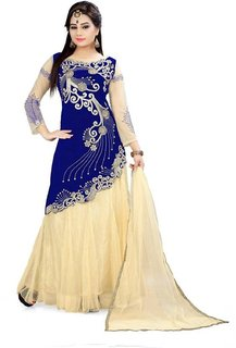 TexStile Blue Colour Velvet Net Lehenga Choli For Women's