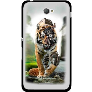 Snooky Printed Mechanical Lion Mobile Back Cover For Sony Xperia E4 - Multicolour