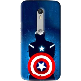 Snooky Printed America Sheild Mobile Back Cover For Motorola Moto X Play - Blue