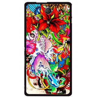 Snooky Printed Horny Flowers Mobile Back Cover For Sony Xperia ZR - Multicolour