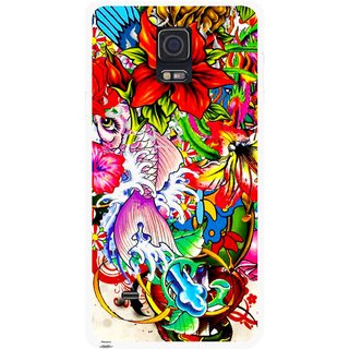 Snooky Printed Horny Flowers Mobile Back Cover For Samsung Galaxy Note 4 - Multicolour