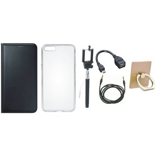 Oppo F5 Stylish Cover with Ring Stand Holder, Silicon Back Cover, Selfie Stick, OTG Cable and AUX Cable