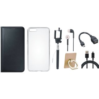 Samsung C7 Pro Premium Leather Cover with Ring Stand Holder, Silicon Back Cover, Selfie Stick, Earphones, OTG Cable and USB Cable