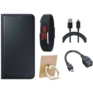 Samsung C7 Pro Cover with Ring Stand Holder, Digital Watch, OTG Cable and USB Cable