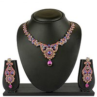 VK Jewels Colour Stone Gold Plated Necklace With Earrings