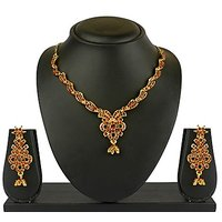 VK Jewels Glimmer Gold Plated Necklace With Earrings