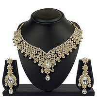 VK Jewels Intricately Gold Plated Necklace With Earrings