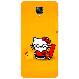 Snooky Printed Kitty Study Mobile Back Cover For OnePlus 3 - Multicolour