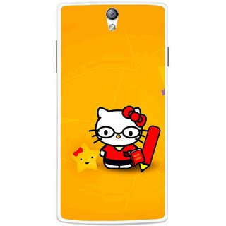 Snooky Printed Kitty Study Mobile Back Cover For Oppo Find 5 Mini - Multicolour