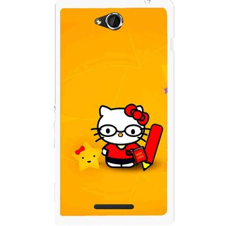 Snooky Printed Kitty Study Mobile Back Cover For Sony Xperia C - Multicolour