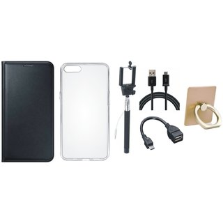Motorola Moto G5s Premium Leather Cover with Ring Stand Holder, Silicon Back Cover, Selfie Stick, OTG Cable and USB Cable