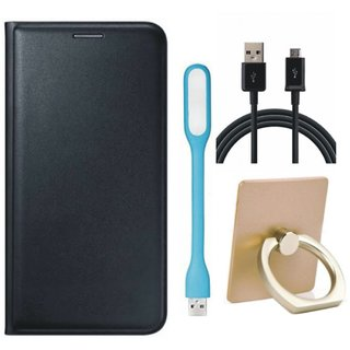 Samsung C7 Pro Leather Flip Cover with with Ring Stand Holder, USB LED Light and USB Cable