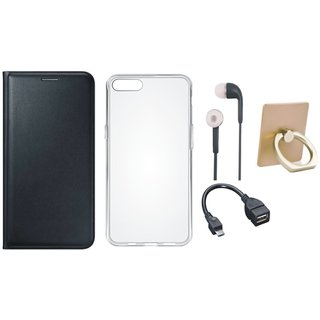 Samsung C7 Pro Leather Flip Cover with with Ring Stand Holder, Silicon Back Cover, Earphones and OTG Cable