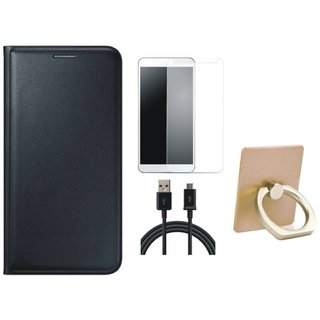 Motorola Moto C Plus Premium Leather Cover with Ring Stand Holder, Tempered Glass and USB Cable