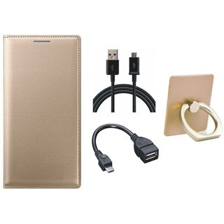 Oppo F5 Flip Cover with Ring Stand Holder, OTG Cable and USB Cable