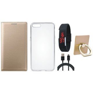 Oppo F5 Leather Cover with Ring Stand Holder, Silicon Back Cover, Digital Watch and USB Cable