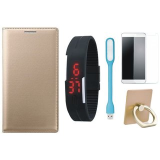 Oppo F5 Leather Cover with Ring Stand Holder, Free Digital LED Watch, Tempered Glass and LED Light