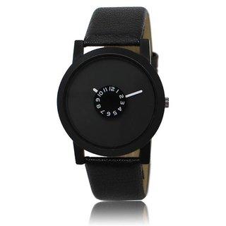 Ismart Round Dail Black Leather StrapMens Quartz Watch For Men