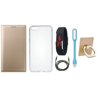 Oppo F5 Leather Cover with Ring Stand Holder, Silicon Back Cover, Digital Watch, USB LED Light and AUX Cable
