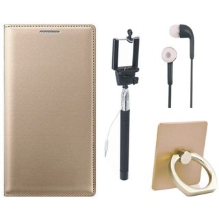 Samsung J7 2016 ( SM-J710 ) Stylish Cover with Ring Stand Holder, Selfie Stick and Earphones