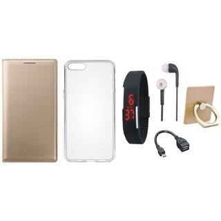 Oppo F5 Flip Cover with Ring Stand Holder, Silicon Back Cover, Digital Watch, Earphones and OTG Cable