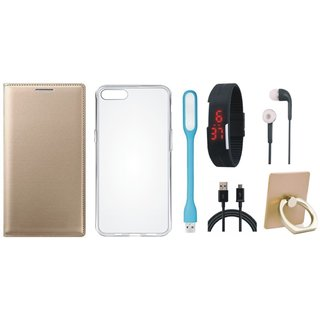 Oppo F5 Flip Cover with Ring Stand Holder, Silicon Back Cover, Digital Watch, Earphones, USB LED Light and USB Cable