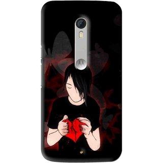 Snooky Printed Broken Heart Mobile Back Cover For Motorola Moto X Play - Multi
