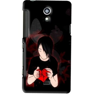 Snooky Printed Broken Heart Mobile Back Cover For SONY XPERIA T - Multi