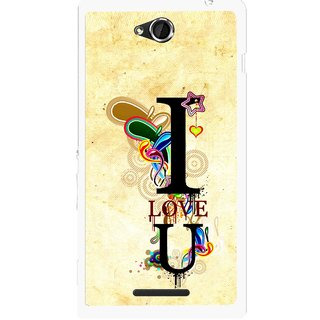 Snooky Printed Love You Mobile Back Cover For Sony Xperia C - Multicolour
