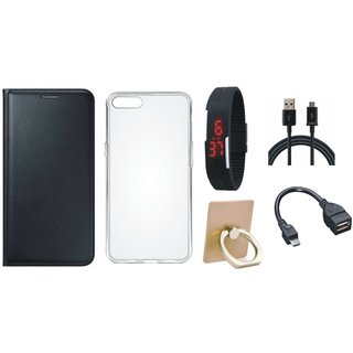 Motorola Moto C Plus Leather Cover with Ring Stand Holder, Silicon Back Cover, Digital Watch, OTG Cable and USB Cable