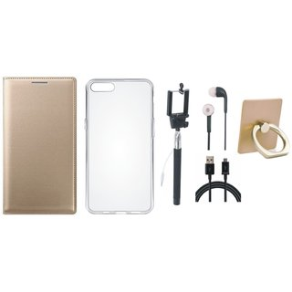 Oppo F5 Premium Leather Cover with Ring Stand Holder, Silicon Back Cover, Selfie Stick, Earphones and USB Cable