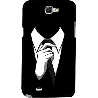 Snooky Printed White Collar Mobile Back Cover For Samsung Galaxy Note 2 - Multicolour