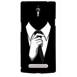 Snooky Printed White Collar Mobile Back Cover For Oppo Find 7 - Multicolour