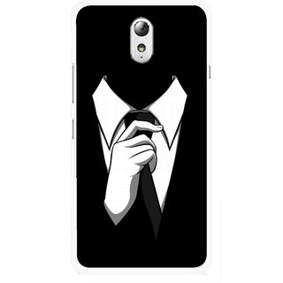 Snooky Printed White Collar Mobile Back Cover For Lenovo Vibe P1M - Multicolour