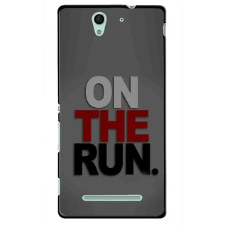 Snooky Printed On The Run Mobile Back Cover For Sony Xperia C3 - Multicolour