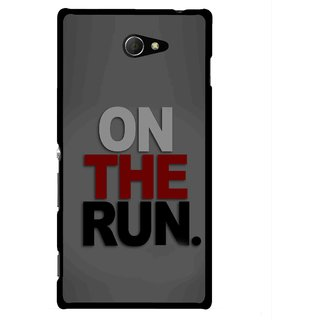 Snooky Printed On The Run Mobile Back Cover For Sony Xperia M2 - Multicolour