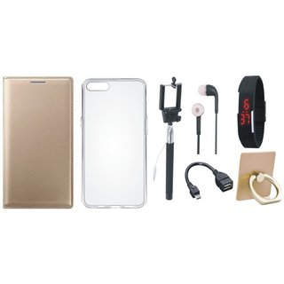 Samsung C7 Pro Leather Cover with Ring Stand Holder, Silicon Back Cover, Selfie Stick, Digtal Watch, Earphones and OTG Cable