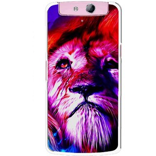 Snooky Printed Freaky Lion Mobile Back Cover For Oppo N1 Mini - Multicolour